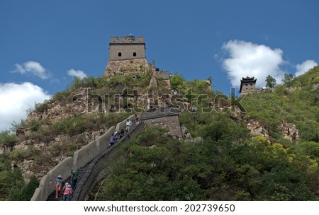 JUYONGGUAN, CHINA - JUNE 10: The Great Wall on June 10, 2014, Juyongguan, China. The wall is the symbol of China and listed by UNESCO as a World Heritage site.