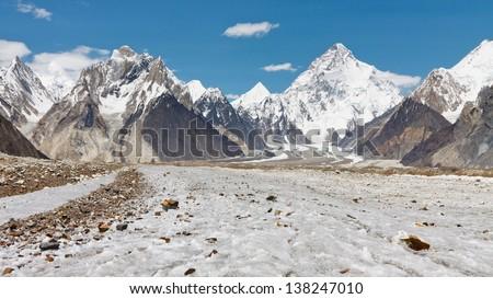 K2 and Baltoro Glacier, Karakorum, Pakistan - stock photo