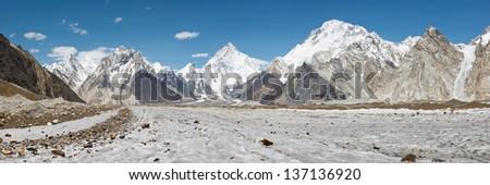 K2 and Baltoro Glacier Panorama, Karakorum Mountain Range, Pakistan - stock photo