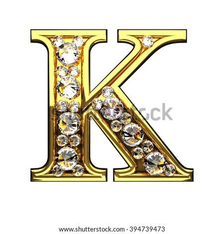 k isolated golden letters with diamonds on white
