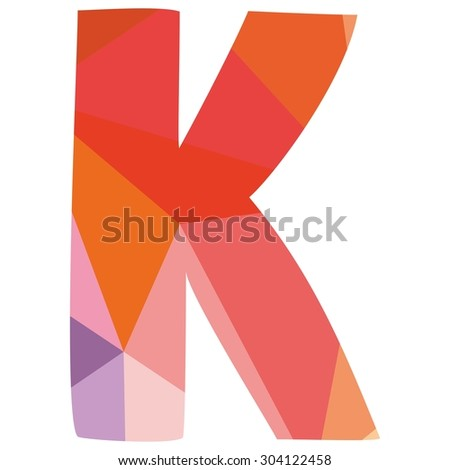 K low poly wrapping surface pastel alphabet letter isolated on white background