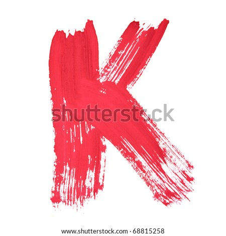 K - Red handwritten letters over white background