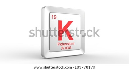 K symbol 19 material for Potassium chemical element of the periodic table - stock photo