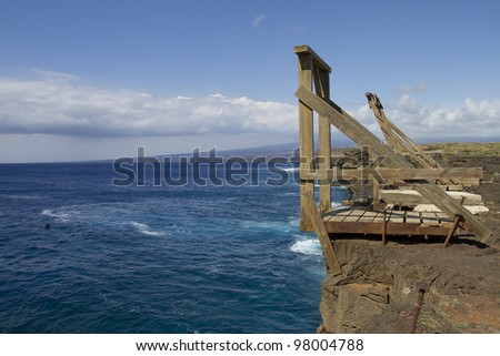 Ka Lae or South Point, is the southern most point on the Big Island of Hawaii - stock photo