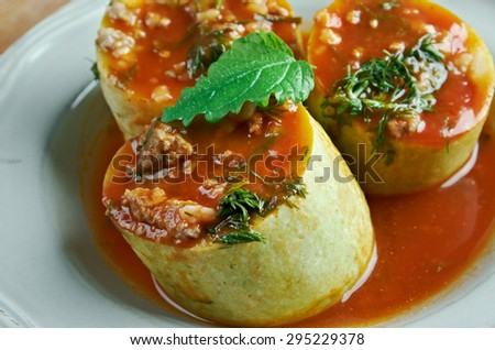 Kabak dolmas�± - zucchini stuffed with rice and meat.Turkish cuisine - stock photo