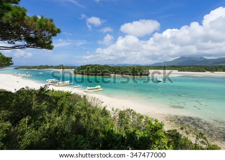 Kabira Bay, one of the most famous beautiful beach in Japan, is located on the north coast of Ishigaki Island in Okinawa, Japan. It is part of the Iriomote-Ishigaki National Park. - stock photo