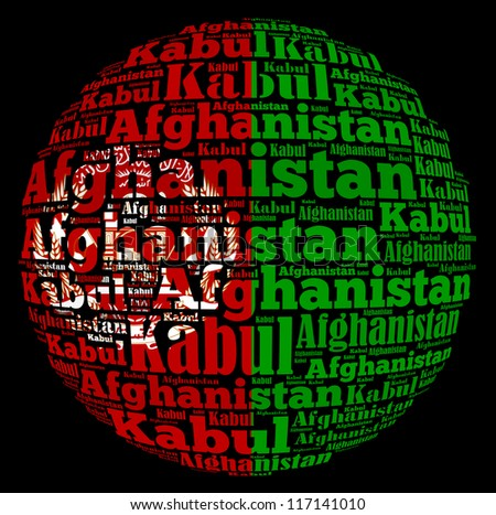 Kabul capital city of Afghanistan info-text graphics and arrangement concept on black background (word cloud) - stock photo