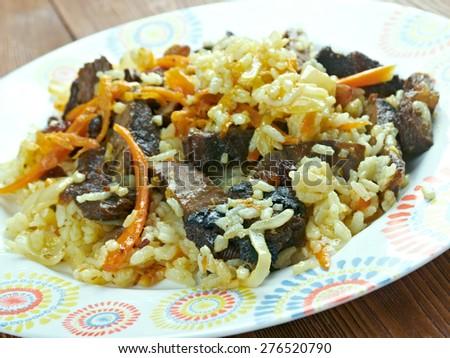 Kabuli Palaw - Afghan rice kabuli pulao - stock photo