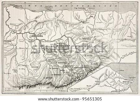 Kabylie old map, Algeria. Created by Erhard, published on Le Tour Du Monde, Paris, 1867 - stock photo