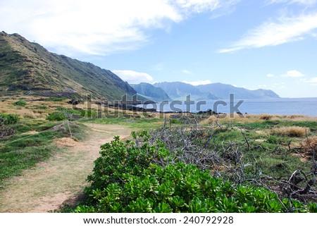 Kaena point hiking trail on the West coast of Oahu, Hawaii - stock photo