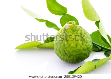 Kaffir lime fresh and leaf isolated on white background.