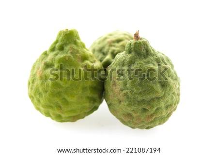 kaffir lime isolated on white background - stock photo