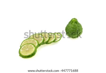 Kaffir lime isolated on white background. - stock photo