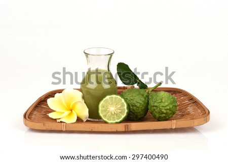 Kaffir lime, Leech lime, Mauritius papeda, fruits, juice., Medicinal and hair.  - stock photo