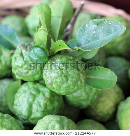 Kaffir lime or leech lime on market tray