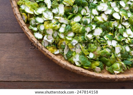 kaffir lime peel in a basket - stock photo