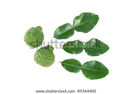 kaffir lime with leaf isolated over white background