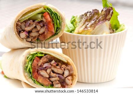 kafta shawarma chicken pita wrap roll sandwich traditional arab mid east food - stock photo