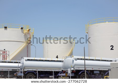KAGAWA, JAPAN - MAY 5: Storage tanks with tank truck in a refinery plant. May 5, 2014 in Kagawa, Japan. - stock photo