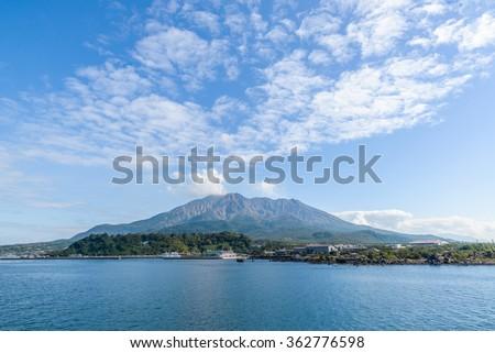 Kagoshima, Japan with Sakurajima Volcano. - stock photo