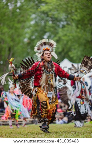 Kahnawake, Quebec, Canada - July 10, 2016 : Pow wow Traditional dancer taking part in Kahnawake 26th Annual Echoes Of A Proud Nation Pow Wow in Kahnawake reserve