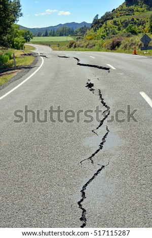 Kaikoura, New Zealand - November 15, 2016: First signs of damage on the road to Kaikoura are seen just north of Parnassus in North Canterbury following the 7.5  Kaikoura Earthquake this week.