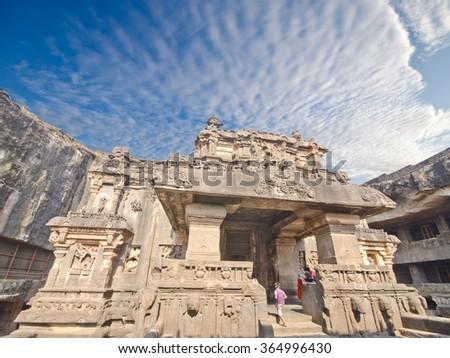 Kailas temple in Ellora, Maharashtra state in India - stock photo