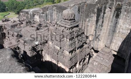 Kailash Temple at Ellora in Maharashtra. Ancient hindu temple. Cave number 16, Ellora caves, near Aurangabad. India - stock photo