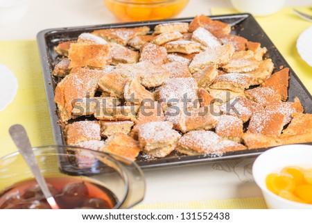 Kaiserschmarrn (a austrian dessert) with fruits - stock photo