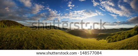 kaiserstuhl at sunset in south germany  - stock photo