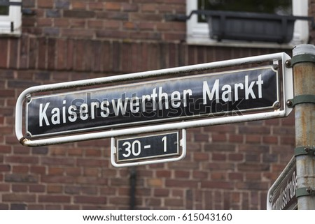 kaiserswerth duesseldorf market germany street sign