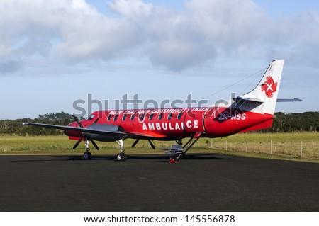 KAITAIA, NZ - JULY 08:Air ambulance plane on July 08 2013.Emergency Medical Service necessary in remote places with sparsely populated settlements that often inaccessible by road. - stock photo