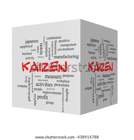 Kaizen 3D Word Cloud Concept in red caps with great terms such as improvement, positive, success and more. - stock photo