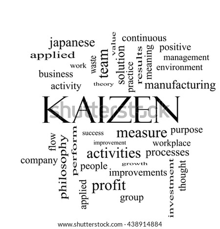 Kaizen Word Cloud Concept in black and white with great terms such as improvement, positive, success and more. - stock photo