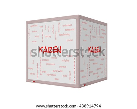 Kaizen Word Cloud Concept on a 3D Whiteboard with great terms such as improvement, positive, success and more. - stock photo