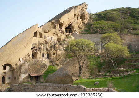KAKHETIA, GEORGIA - David Gareja Monastery complex. Part of the complex is located in Azerbaijan - stock photo