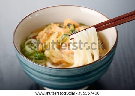 Kakiage udon,Japanese food - stock photo