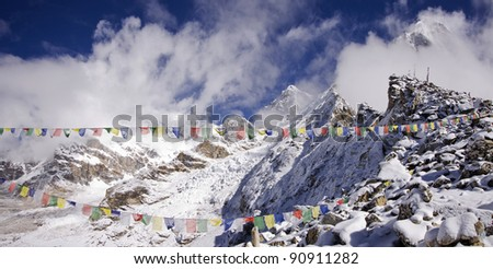kala patthar summit at the right sagarmatha np nepal - stock photo