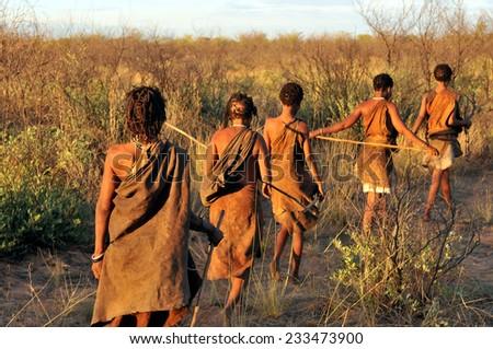 KALAHARI, BOTSWANA - DECEMBER 31, 2008: bushmen in the desert walking in a line - stock photo