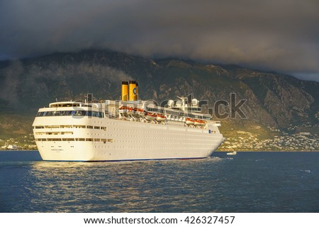 KALAMATA - GREECE MAY 21 2016: Costa Classica Cruise ship leaving the port of kalamata city in Messenia, Peloponnese - Greece.