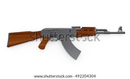 Kalashnikov AK-47  on background. 3D rendering.