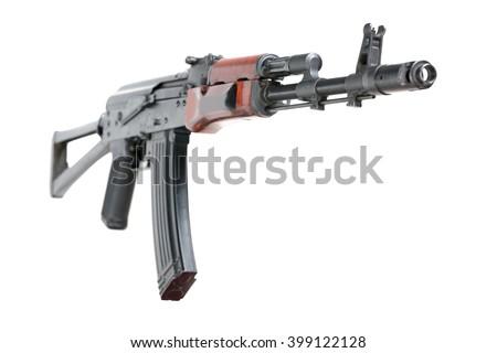 Kalashnikov assault rifle, AK-47. Isolated - stock photo