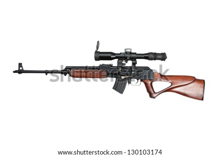 kalashnikov based sniper rifle with optic sight - stock photo