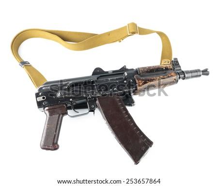 Kalashnikov machine gun. Safety lever position semi-auto mode. - stock photo