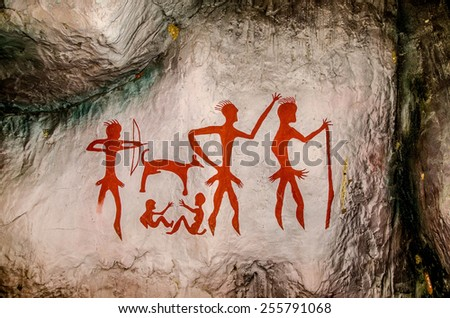 KALASIN ,THAILAND - Oct 23 : Model Archeological pre-historic human clift paint over 4000 years ago on October 23,2014 in Kalasin,Thailand