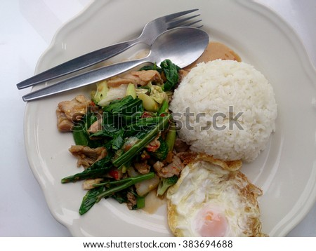 Kale fried in oyster sauce with salted fish and pork & rice. Thai Food - stock photo