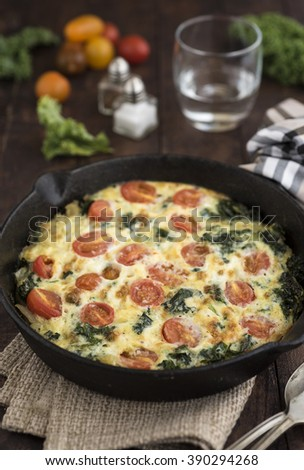 Kale Frittata into cast iron skillet