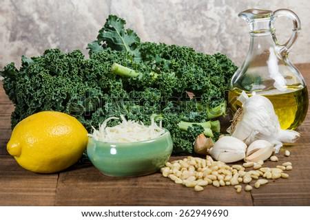 Kale pine nuts and garlic for kale pesto - stock photo