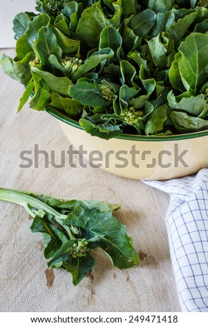 kale vegetable (Chinese Broccoli ) in old bowl - stock photo
