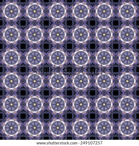 Kaleidoscope. Abstract art. Seamless geometric patterns. Optical illusion.  Science background. Purple, violet, black color.